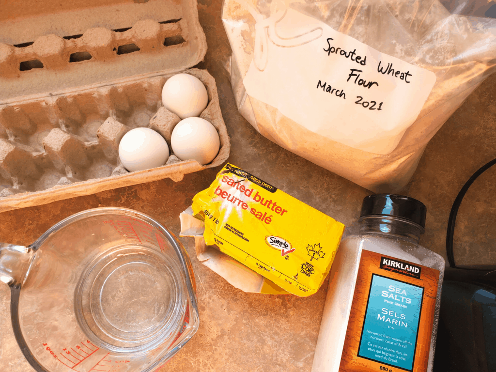 Ingredients for german pancakes on a counter