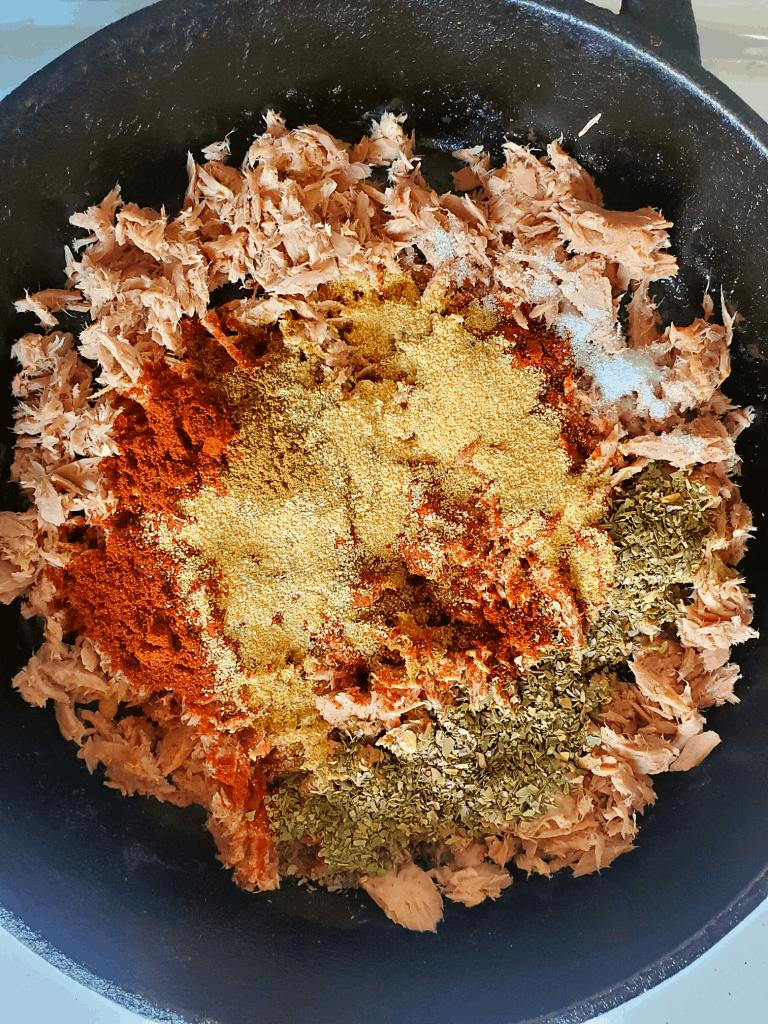 Ingredients for skipjack tuna recipe in a pan
