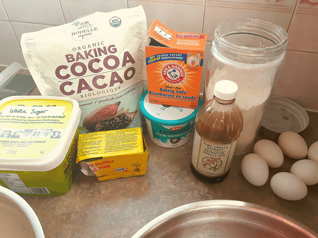 Ingredients for world's best chocolate cake