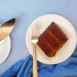 slice of chocolate cake on a plate with fork