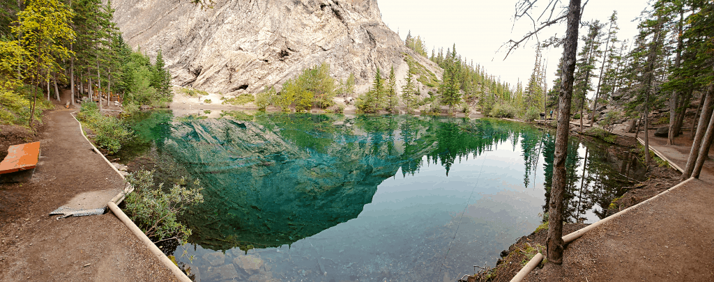clear lake and mountain in banff canada
