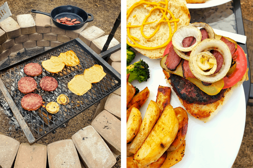 Cooking burgers over a fire and plated burger with roasted vegetables
