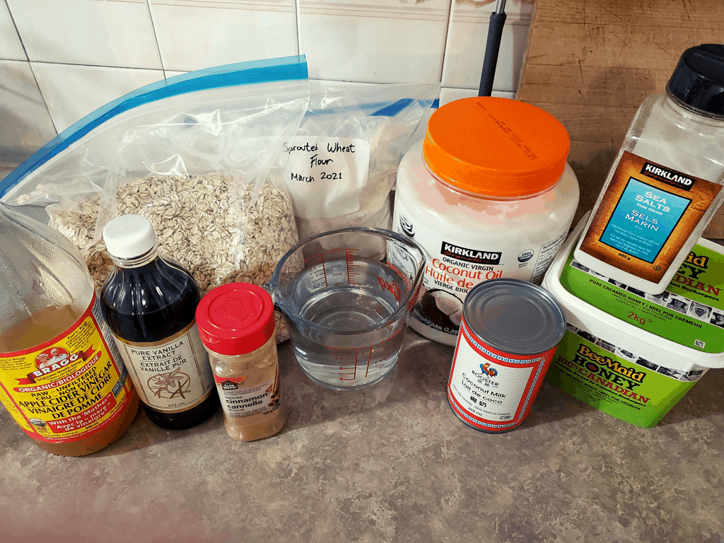 All ingredients required for dehydrator granola on a counter
