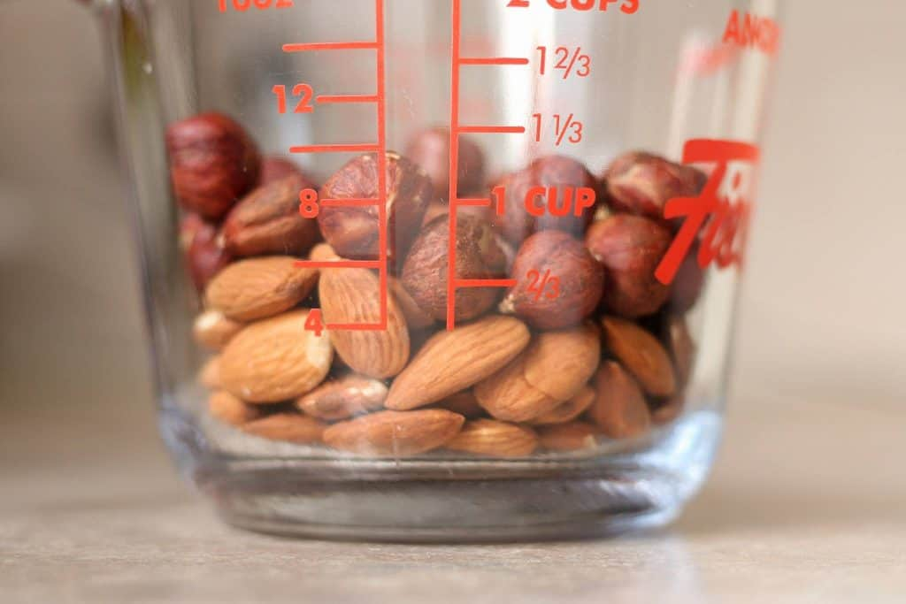 nuts in a measuring cup