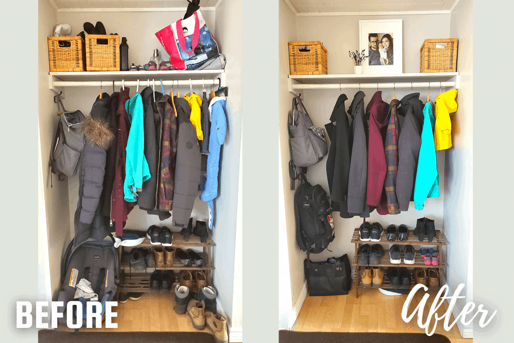 before and after of entryway closet organization