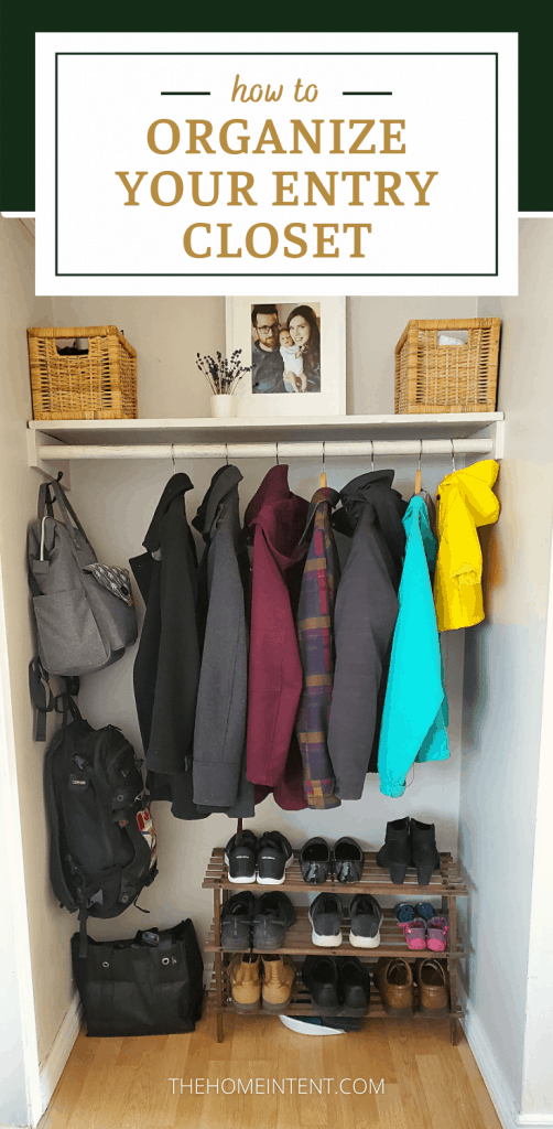 How to Organize Your Entry Closet #declutter #organize #entryway #decor #intentionalliving #minimalliving