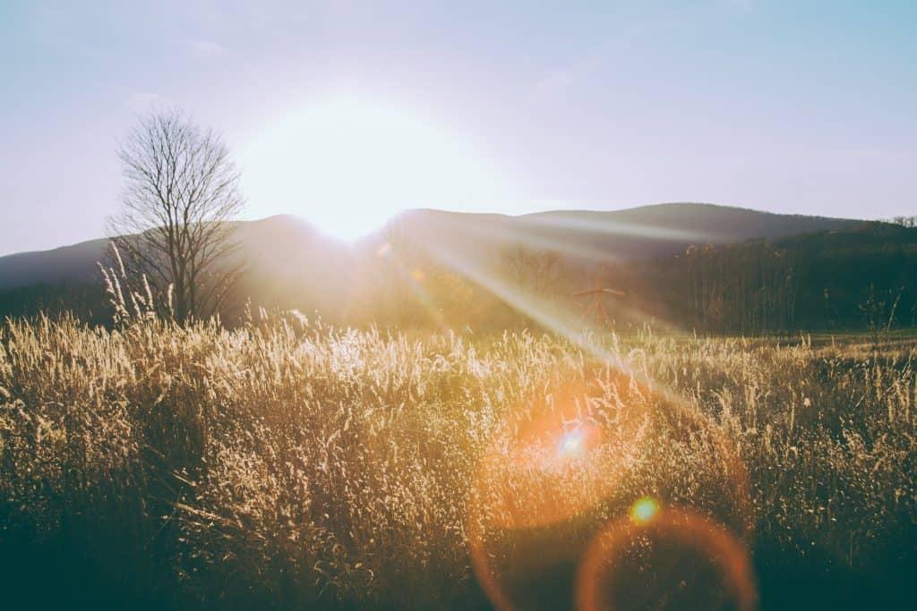 Morning sunrise over a mountain