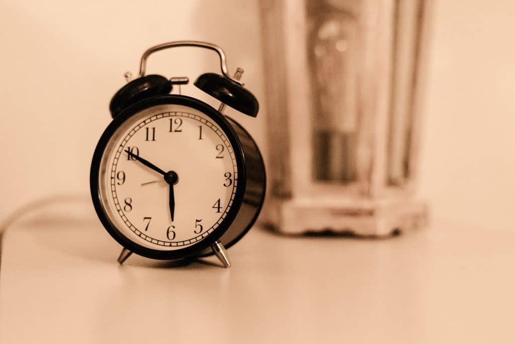 Alarm clock sitting on table