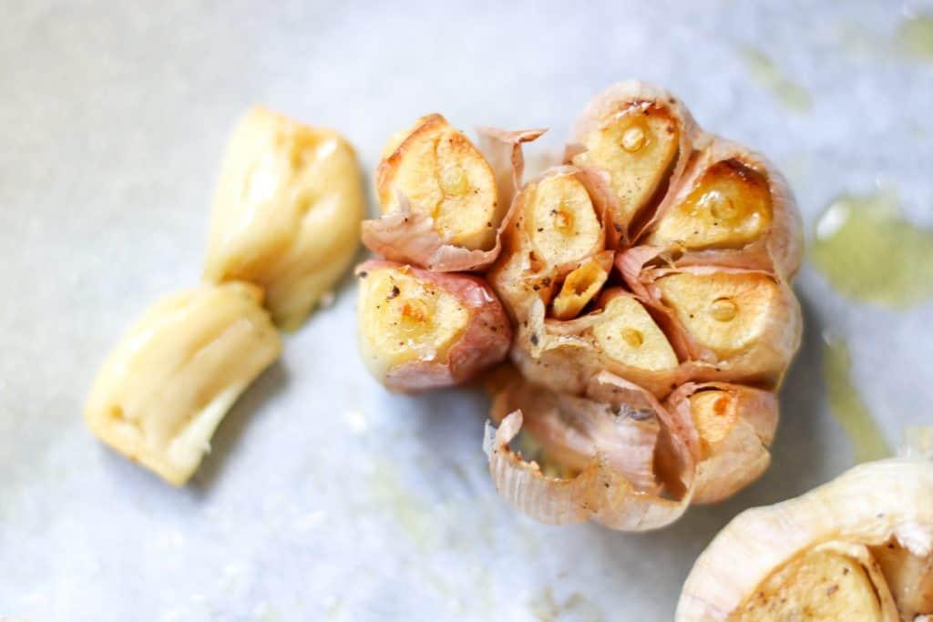 Closeup of instant pot roasted garlic