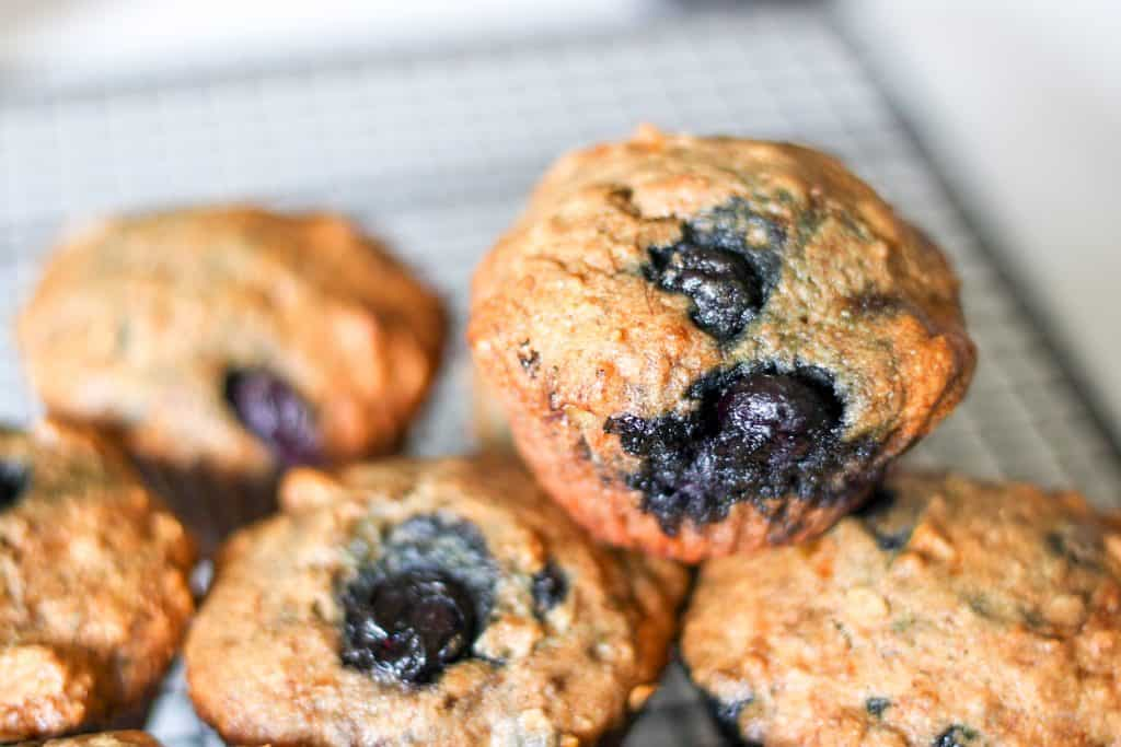 Dairy free blueberry muffin with sprouted wheat up close