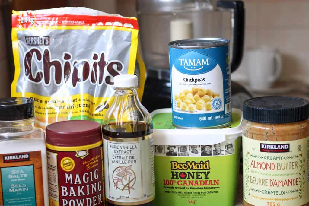 Ingredients for chickpea cookie recipe