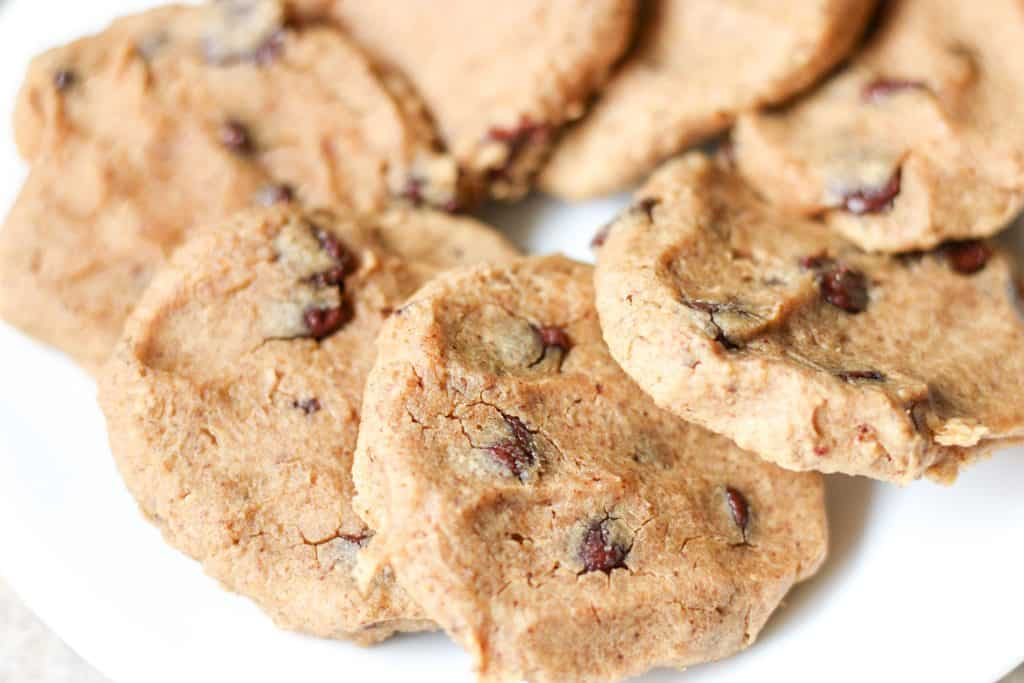 A plate of chocolate chip chickpea cookies