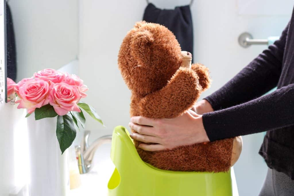 demonstrating holding baby on potty (using a teddy bear)