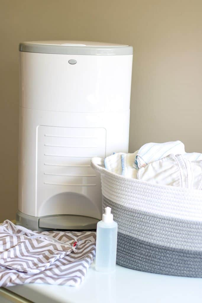 Diaper pail, wet bags, peri bottle and basket for clean diaper storage