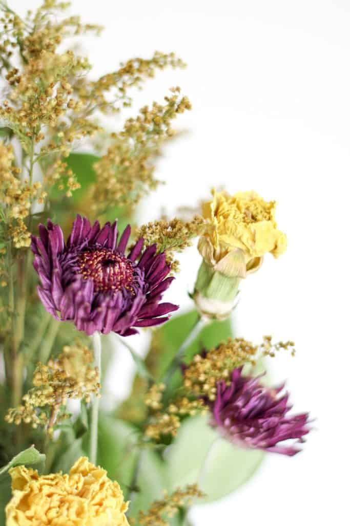 close up of dried flower bouquet