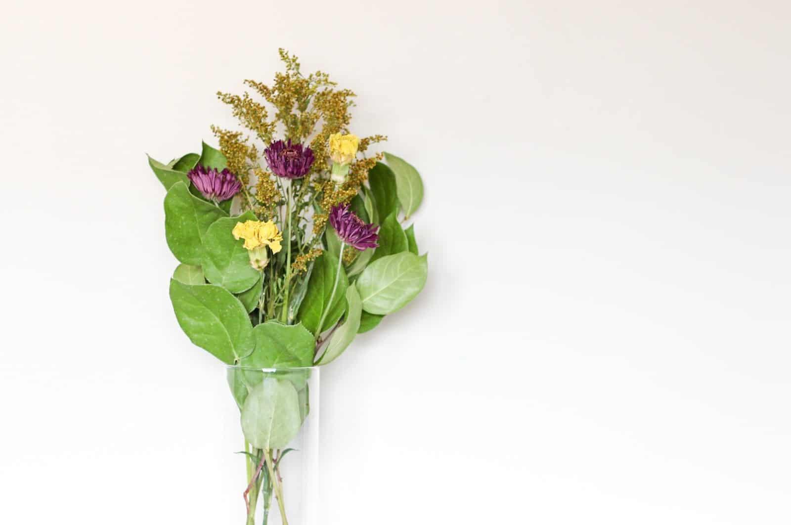 dried flower bouquet in vase
