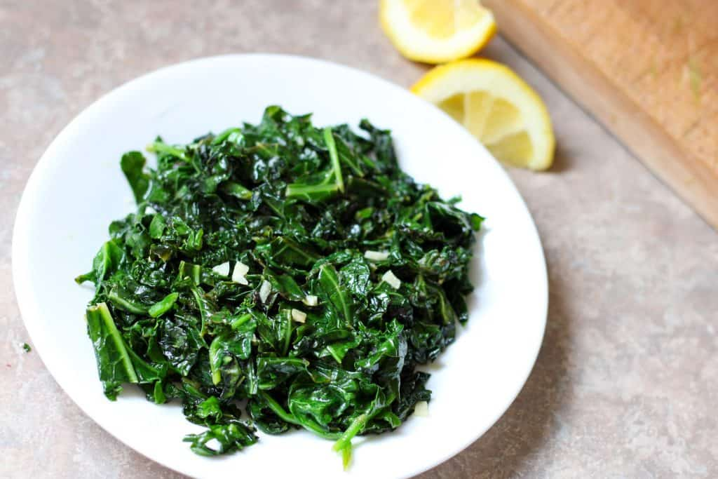 kale and spinach saute with lemon