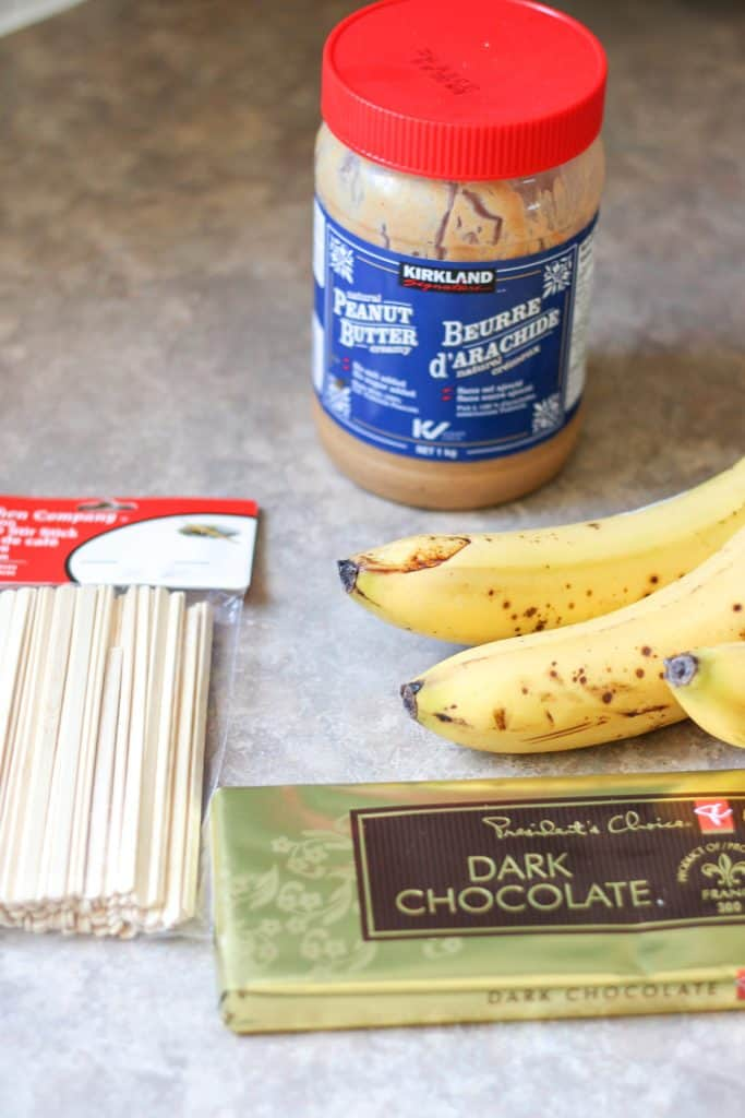 Ingredients for banana popsicles