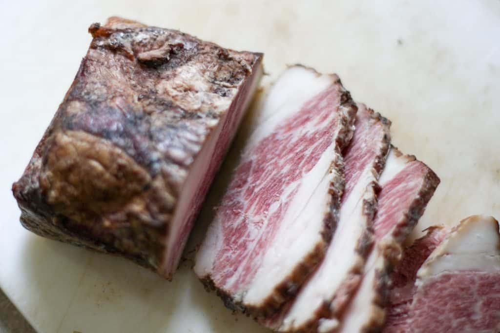 sliced homemade bacon