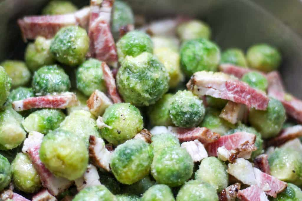 brussels sprout and bacon mixture before roasting