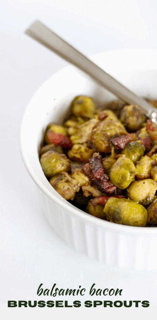 balsamic bacon brussels sprouts in serving bowl