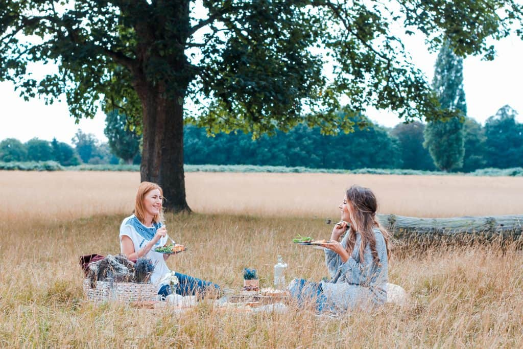 2 women having a picnic