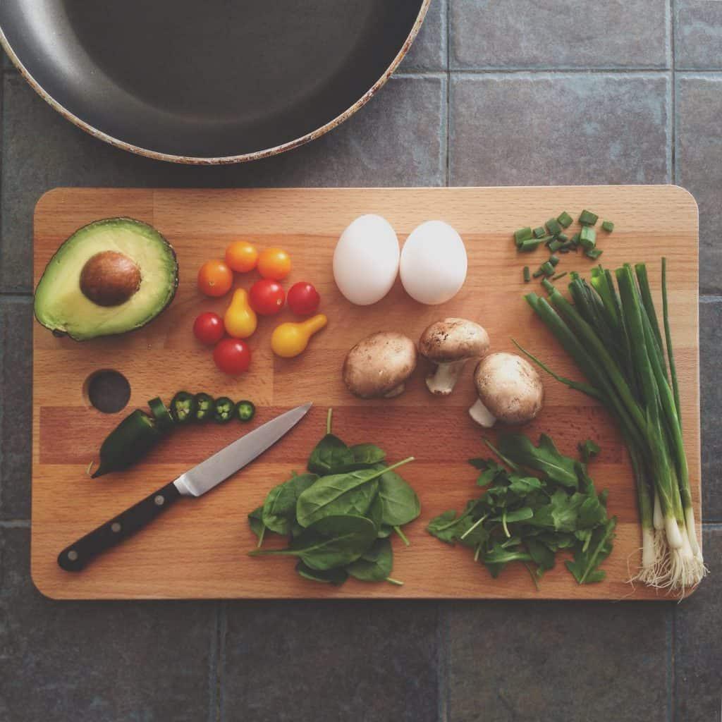 healthy food on a cutting board