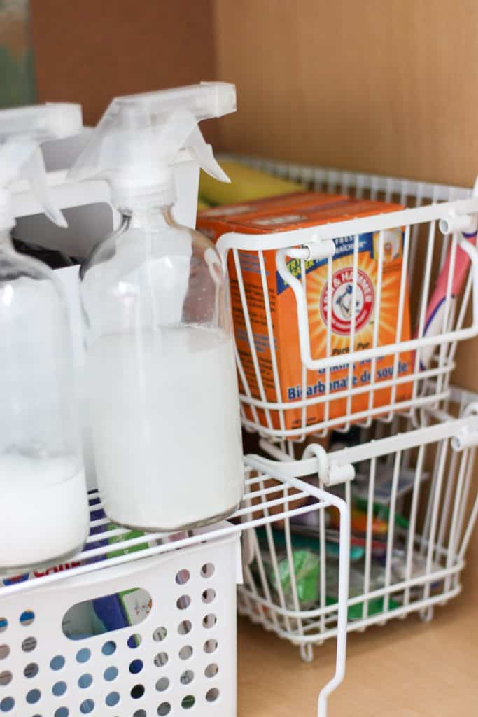under bathroom sink organization with baskets and shelves