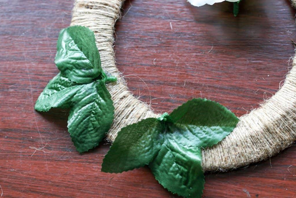 leaves glued on wreath