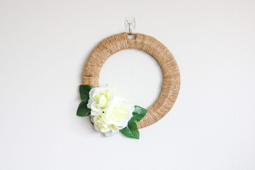 DIY dollar store wreath with white roses