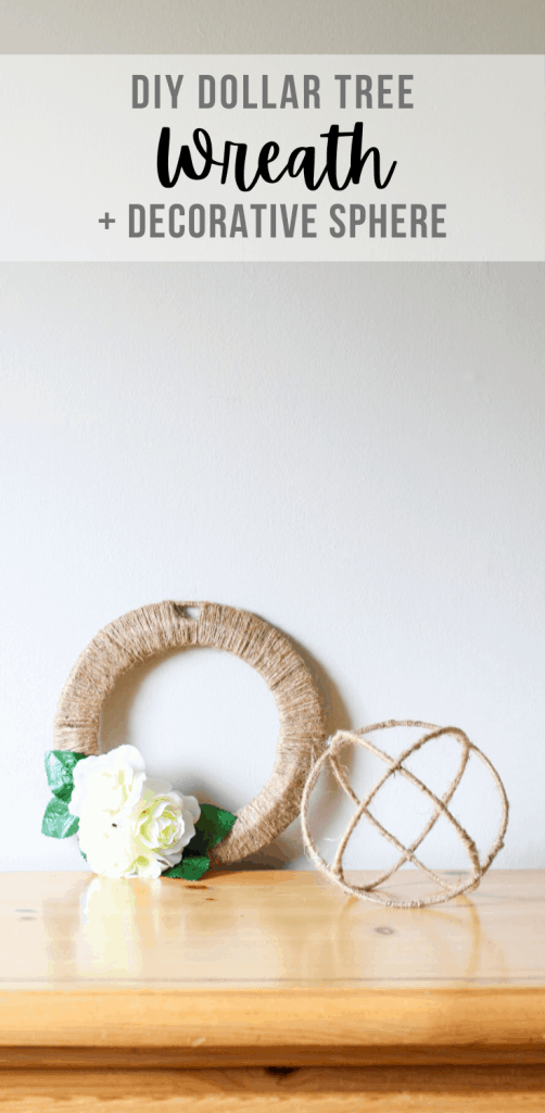 wreath and sphere on dresser top