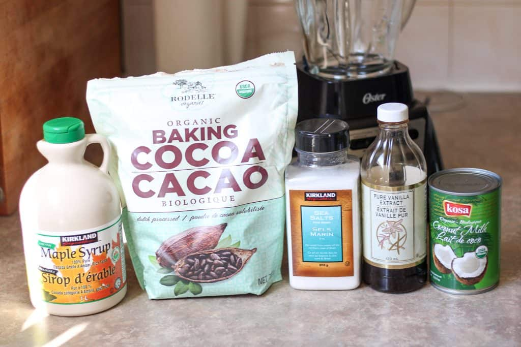 Ingredients for chocolate fudge popsicles