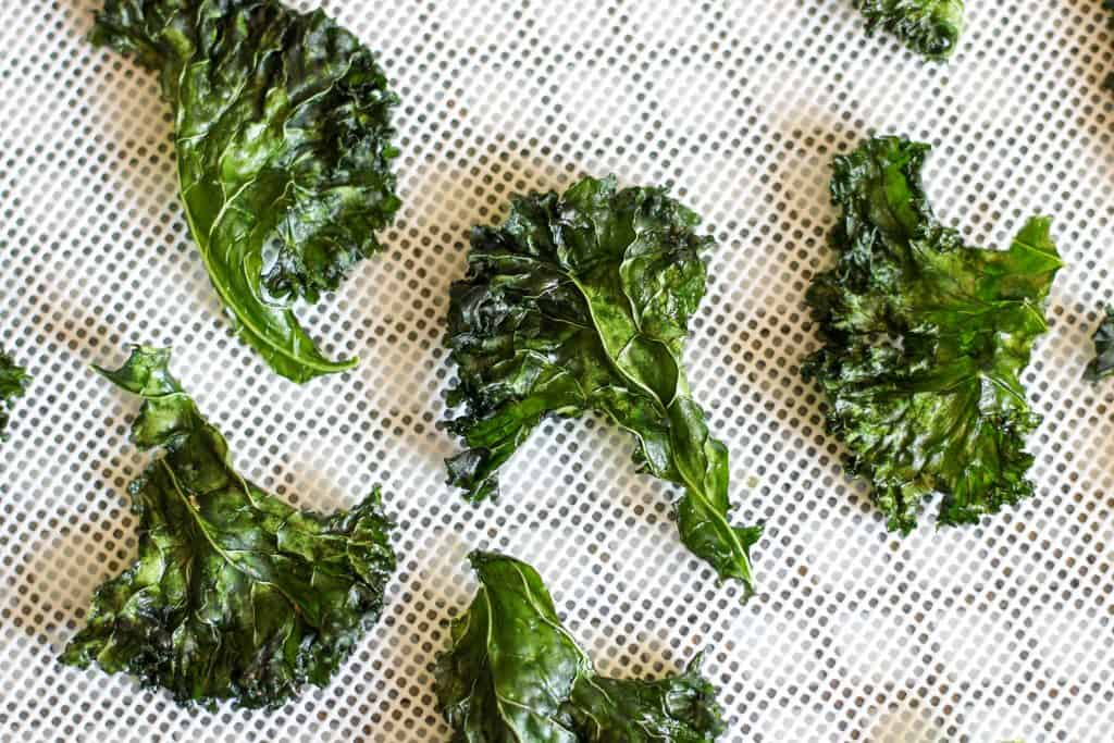 kale chips on dehydrator tray