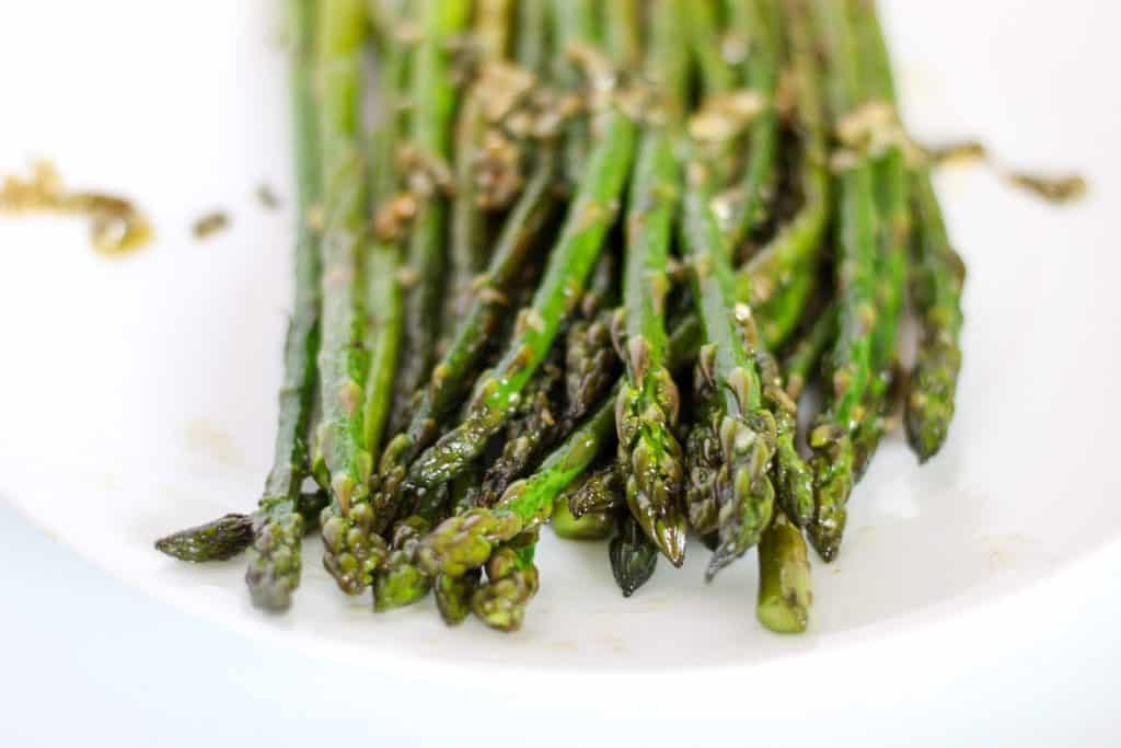 Close up of cooked asparagus
