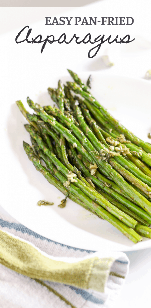 pan fried garlic asparagus on a plate