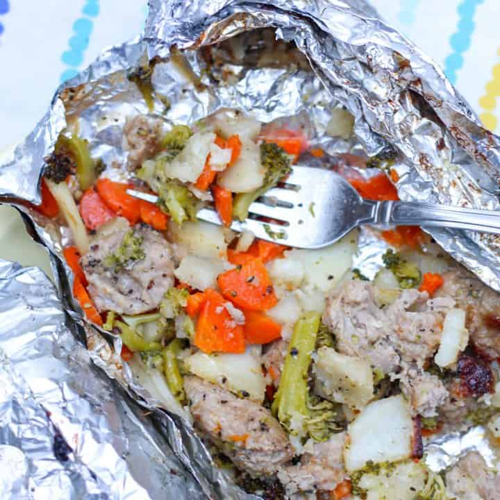 sausage and veggie in foil