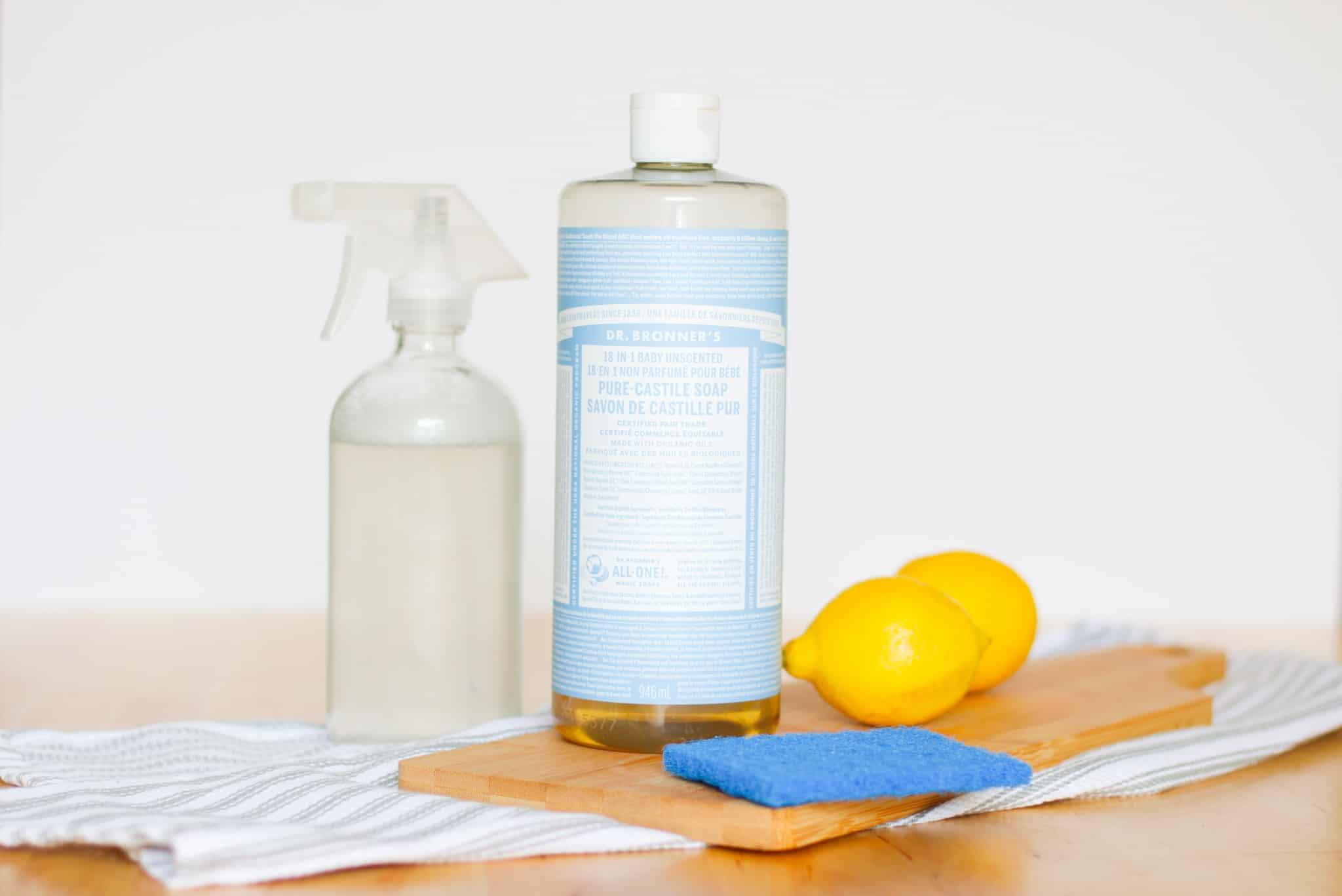 castile soap, spray bottle and scrubber