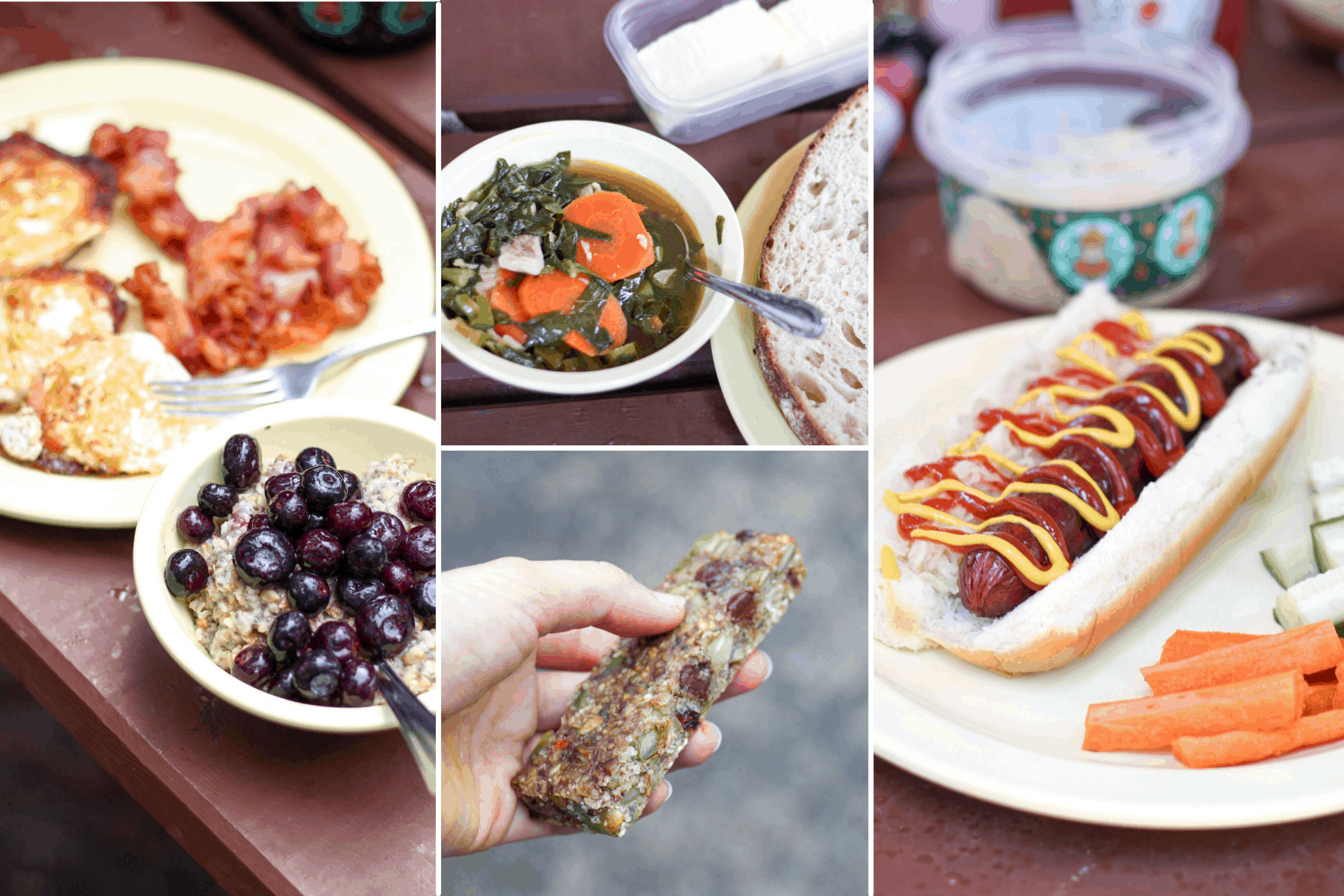 variety of meals for camping