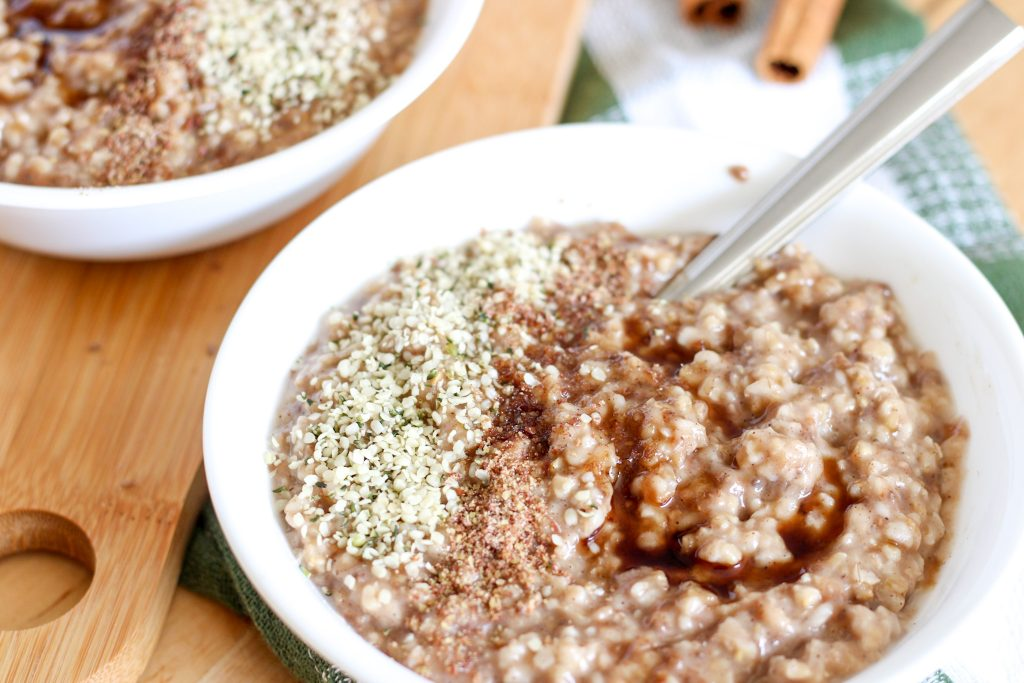 oatmeal with hemp hearts, brown sugar and flax on top