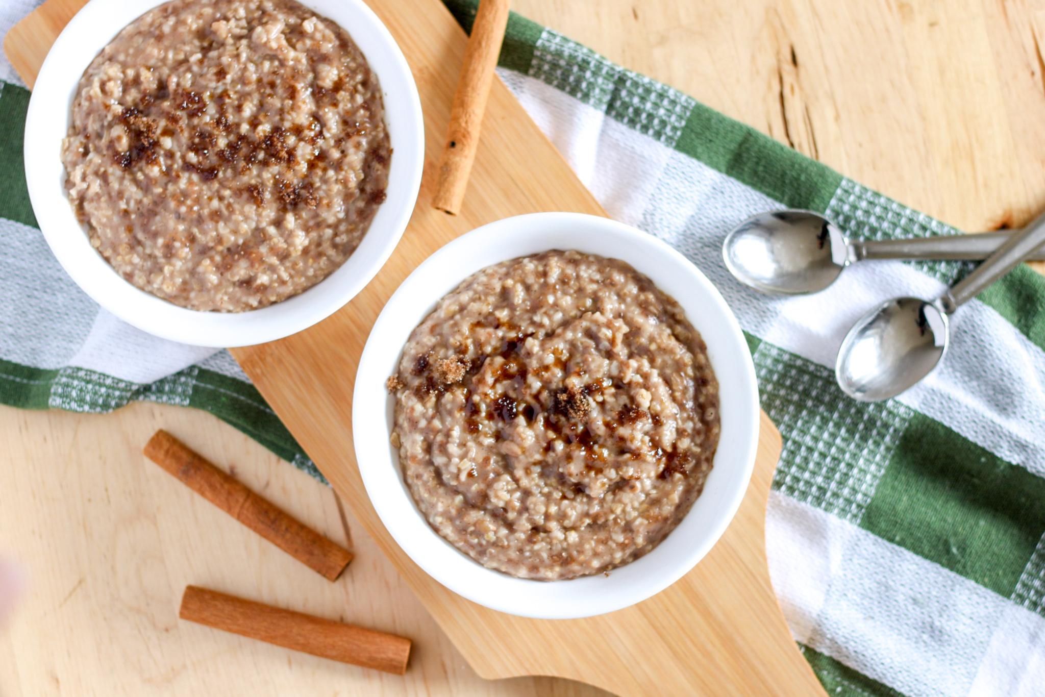 bowls of oatmeal and cinnamon sticks