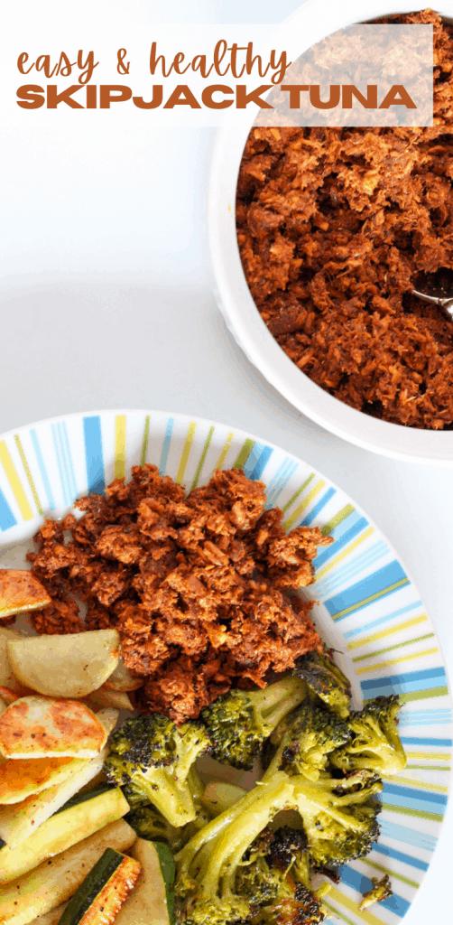 tuna and veggies on a plate