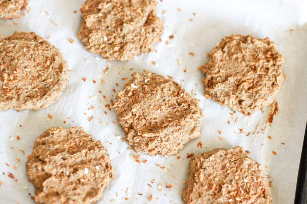 Coconut cookies on baking sheet after baking