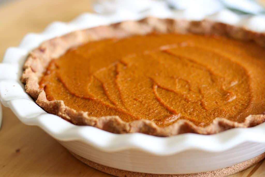 close up of pumpkin pie