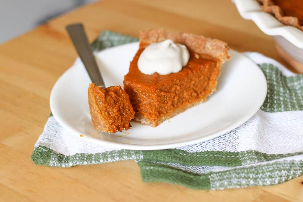 slice of pumpkin pie and forkful