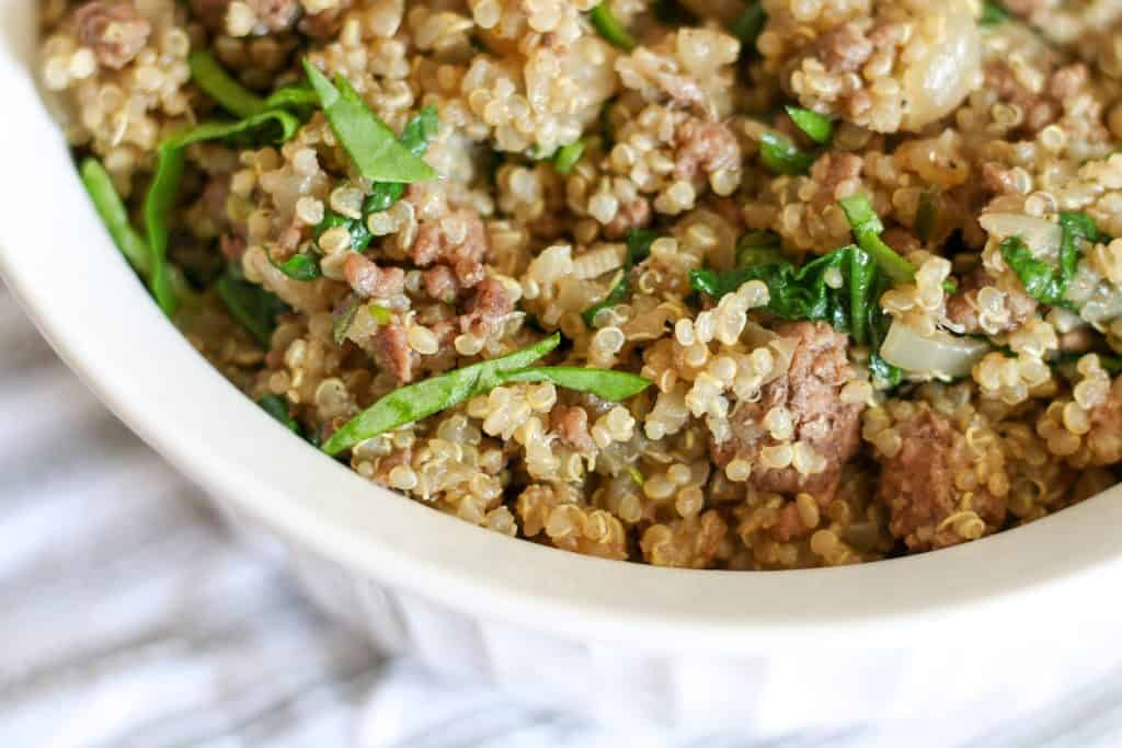 close up of quinoa and spinach