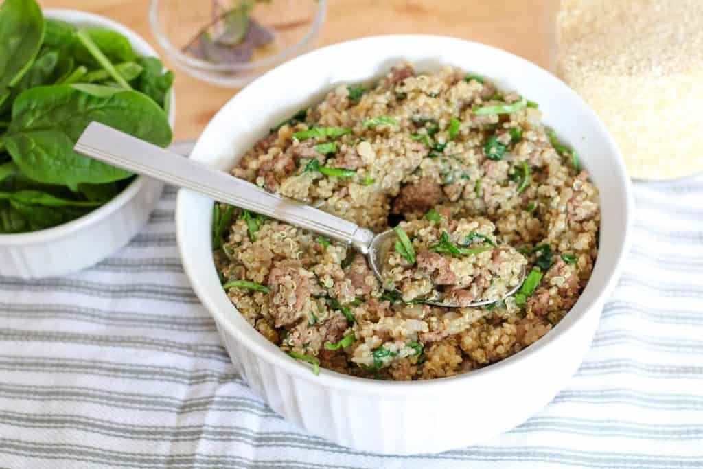 bowl of beef and quinoa skillet meal