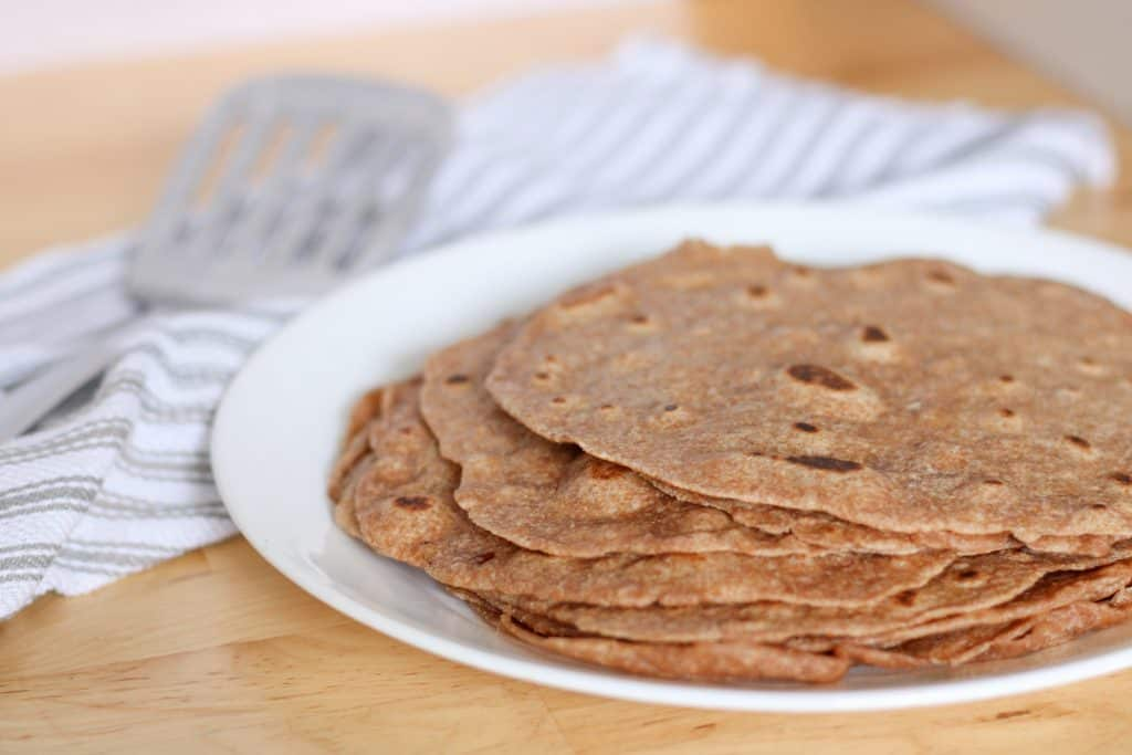 sprouted wheat tortillas on plate