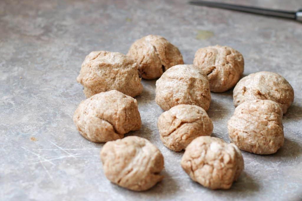 dough balls on counter