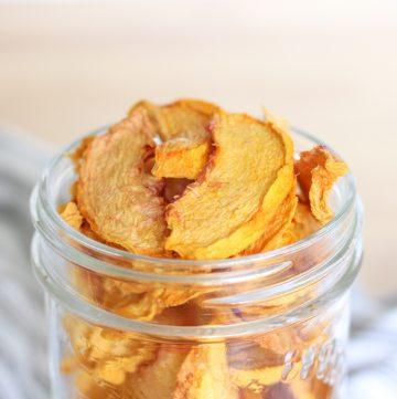 dried peaches in a jar