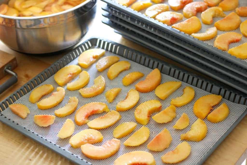 peach slices on dehydrator trays